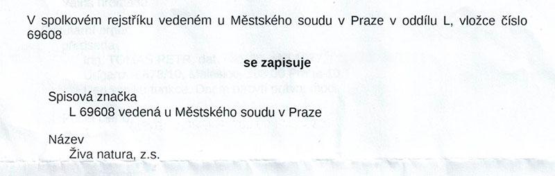 V spolkovém rejstříku se zapisuje Živa natura, z.s.
